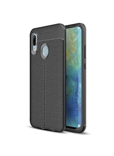 Microsonic Huawei P Smart 2019 Kılıf Deri Dokulu Silikon  Siyah